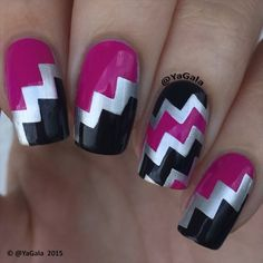 Instagram media by yagala - Chevron nail art Chevron stickers from @el_corazon_shop  Elcorazon-shop.com Siver base is ️Kaleidoscope No f-01 from @el_corazon_art_direct ️El Corazon nail polishes No878 (black) and No147 from @el_corazon_art_direct Cleaning brush @joliepolish . . Дизайн с использованием самоклеющихся трафаретов для дизайна ногтей от @el_corazon_shop  elcorazon-shop.com Лаки: ️Kaleidoscope No f-01 и ️El Corazon No878 ; No147 . . Song: Taylor Swift - Shake it off