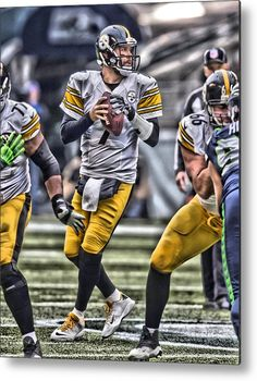 4b2f8e041 Ben Roethlisberger Metal Print featuring the painting Ben Roethlisberger Pittsburgh  Steelers Art by Joe Hamilton
