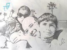 #AJ_ #Retrato de una familia. Obra con pocos trazos a #grafito sobre #papel, tamaño A4.   #benalmadena #malaga #arte #pintura @AmparoJurado85 #docente2.0 #aj_informa