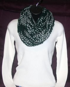 Handmade Green and White infinity scarf. Length - approx. 29  Yarn - 80% Acrylic, 20% Wool  Hand wash in cold water. Lay flat to dry.  Chunky scarves are very fashionable. They can be worn with a coat, a sweater or just a tee! They come in so many different colors, styles and can be so much FUN!!  If you are interested a chunky scarf in your team colors message us and let us know what those colors are and we will do our best to make a scarf in your team colors. They are great way to show…