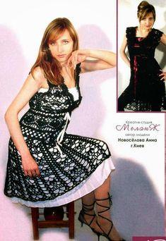 Patrón y moldes de vestido calado negro al crochet