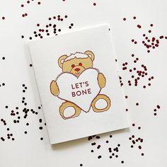 Lets Bone Funny Letterpress Greeting Card handmade in Chicago by Steel Petal Press Custom Stationery, Love Cards, Greeting Cards Handmade, Letterpress, Baby Gifts, Envelope, Valentines, Bear, Let It Be