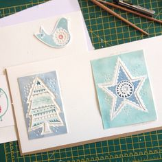 What do you do when you have a spare moment & spare paper? Work on Christmas cards & brooch ideas. #christmas #birdiebrooch