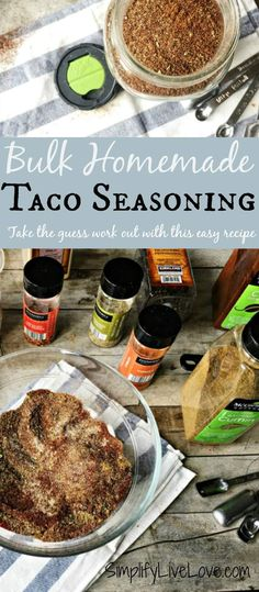 Take the guess work out of your math with this easy recipe that makes enough for 16 pounds of meat in one easy recipe. Save time by making your homemade seasoning mix in bulk and store the rest in an airtight jar in your pantry. Easy Taco Seasoning Recipe, Gluten Free Taco Seasoning, Seasoning Mixes, Bulk Recipe, Hamburger Seasoning, Recipe Making, Homemade Spices, Homemade Seasonings, Mexican Food Recipes