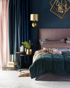 La tendance Art Deco - Home Decor Style Bedroom Colors, Home Decor Bedroom, Modern Bedroom, Diy Home Decor, Bedroom Ideas, Art Deco Interior Bedroom, Master Bedrooms, Blue Bedroom, Contemporary Bedroom