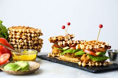 Buttermilk fried chicken and waffles sliders Fried Chicken And Waffles, Making Fried Chicken, Buttermilk Fried Chicken, Waffle Biscuits, Meals To Make With Chicken, Honey Mustard Recipes, Brunch Party, Recipes From Heaven, Food Lists