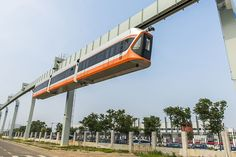 Source chinadaily.com.cn  Monorail Prototype Unveiled Chinese rail car manufacturer CRRC Qingdao Sifang has unveiled a prototype of a mounted monorail train with a maximum operating speed of 70 kilometers per hour, the fastest of its kind in China.  From our very good friends over at chinadaily