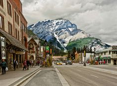 Beautiful shot of Downtown Banff and the Canadian Rockies #Canmore