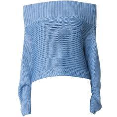 Tibi Neo Silk Oversized Cropped Pullover found on Polyvore featuring tops, sweaters, shirts, blue crop top, oversized off the shoulder sweater, blue sweater, off-the-shoulder tops and silk sweater