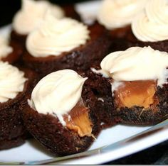 Rolo Brownie Bites with Caramel Cream Cheese Frosting Ingredients: 1 box fudge brownie mix plus necessary eggs, oil & water per package instructions (or your favorite homemade recipe) 24 Rolo candies plus extras for the cook's snack 4 TBS. butter, softened at room temperature 4 oz. cream cheese, softened at room temperature 2 TBS. caramel sauce 1 cup confectioners sug... JUST DO IT!