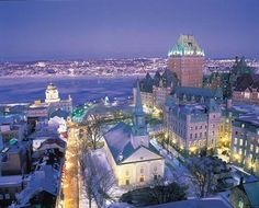 Quebec City during Winter Carnival. Best time during winter!  Ice sculptures were awesome!