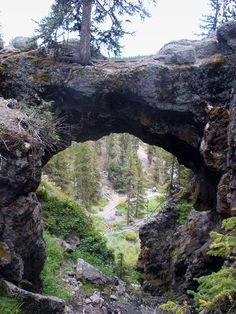Above the natural bridge, looking back down to the trail at Yellowstone National Park, The East, Natural Bridge Trail, Wyoming