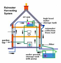 Infographic showing the basic layout on a rainwater harvesting system