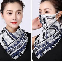 Women Floral Print Windproof Anti-UV Scarf Outdoor Sports Cycling Face