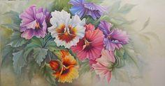 Amores perfeitos, pintura óleo sobre  tela de  Fátima Corrêa - tamanho 80x150cm