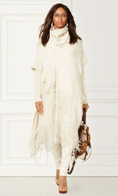 Cashmere-Blend Fringed Poncho - Collection Apparel Outerwear - RalphLauren.com