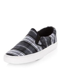 New Look Grey Check Slip On Plimsolls #covetme