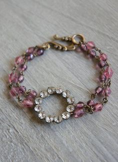 Pink Delight- Assemblage jewelry vintage bracelet vintage rosary bead and rhinestone bracelet pink bracelet by French Feather Designs on Etsy