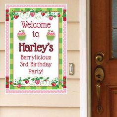 Strawberry Pink Custom Door Greeter, 2 count, x 18 inch Baby Girl Birthday Decorations, First Birthday Favors, 4th Birthday Parties, 3rd Birthday, Birthday Ideas, Strawberry Shortcake Birthday, Pink Parties, First Birthdays, Thanksgiving