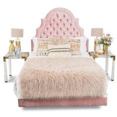 Marrakesh Bed in Blush Velvet ($2,695) ❤ liked on Polyvore featuring home, furniture, beds, velvet furniture, velvet tufted headboard, tufted bed, tufted headboard and tufted furniture