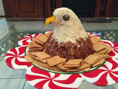 Patriotic Bald Eagle Cheeseball My own creation Use your favorite cheeseball recipe mold into Bald Eagle shape bottom of eagle covered with pecan halves head covered with. 4th Of July Desserts, Fourth Of July Food, 4th Of July Party, July 4th, Patriotic Desserts, Red Party Themes, Food Themes, Party Ideas, Food Ideas