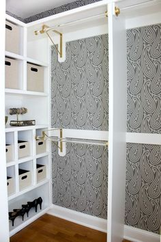 "Gorgeous Farrow & Ball wallpaper and gold and acrylic rods are part of this fabulous closet makeover. Such a huge change from the ""before""!"