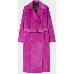 Paul Smith Women's Purple Suede Trench Coat ($4,055) ❤ liked on Polyvore featuring outerwear, coats, purple, paul smith coat, double-breasted coat, waist belt, paul smith and purple trench coat