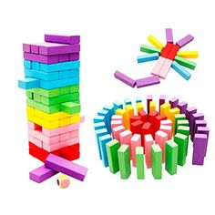 OToys Stacking Game Wooden Toys for Kids Board Games Building Blocks Dominoes Tower Play Set for Boys Girls Rainbow Color 48 Pieces -- You can find out more details at the link of the image.Note:It is affiliate link to Amazon. #80likes