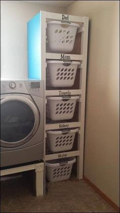 Organize your laundry room. Neat idea if you have the space. Organize your laundry room. Neat idea if you have the space. Organize your laundry room. Neat idea if you have the space. Laundry Room Organization, Laundry Room Design, Laundry Basket Storage, Laundry Basket Dresser, Kitchen Storage, Storage Room Organization, Laundry Area, Laundry Basket Holder, Laundry Room Baskets