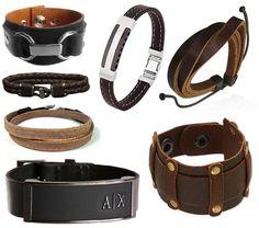 pulseiras masculinas de couro com inox ou prata