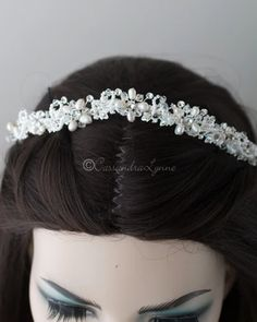 Bridal Tiara of Woven Beads and Crystals - Cassandra Lynne Wedding Tiaras, Swarovski Crystal Beads, Bridal Tiara, Bridal Accessories, Stones And Crystals, Iridescent, Seed Beads, Ivory, Pearls