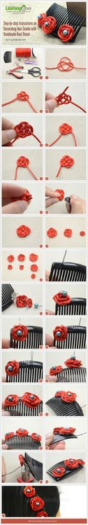 Jewelry Making Tutorial-DIY Hair Combs with Handmade Knot Roses