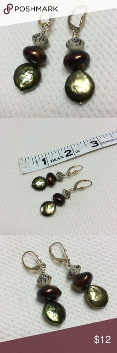 Freshwater pearl earrings Green and copper pearls with seeds.  Lever backs GF. Jewelry Earrings