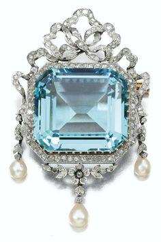 Diamond, aquamarine and seed pearl brooch.