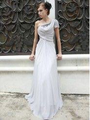 Chiffon Asymmetric Neckline Draped Bodice A-line Prom Dress
