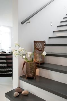 The Best 24 Painted Stairs Ideas for Your New Home I think I saw those candle holder things at either Homesense or Pier I likeI think I saw those candle holder things at either Homesense or Pier I like Painted Staircases, Painted Stairs, Spiral Staircases, Tiny House Stairs, White Stairs, Basement Stairs, Staircase Design, House Design, Interior Design