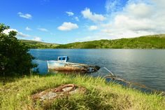 A beautiful little boat wreck in Teen just outside Carrick on the road to Slieve League, Donegal, Ireland Ireland Landscape, Donegal, Landscape Photos, The Outsiders, Landscapes, Teen, Boat, Mountains, Travel