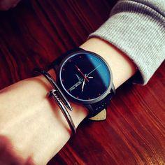 Relogio Feminino 2017 New Luxury Blue Mirror Quartz Watch Women Fashion Casual Watches Women Retro Leather Couple Reloj Mujer