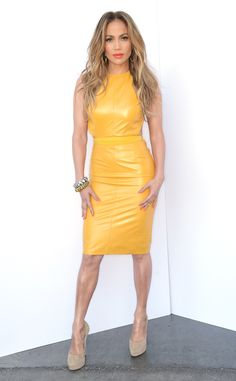 Tight Yellow from Jennifer Lopez's American Idol Looks The hot mom wore a mustard hued The Skin Co. leather halter dress and Jimmy Choo pumps during a taping of the show. Jennifer Lopez, American Idol, Elie Saab, Jimmy Choo, Leather Dresses, Leather Outfits, Leather Fashion, Couture, Yellow Dress