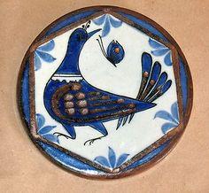 KEN EDWARDS EL PALOMA TONALA MEXICO POTTERY BLUE BIRD PATTERN TRIVET PLATE