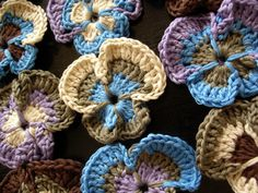 Crocheted pansies. #crochet