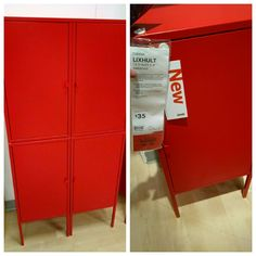 LIXHULT Cabinet, metal, red | Metals, Butcher blocks and Door opener