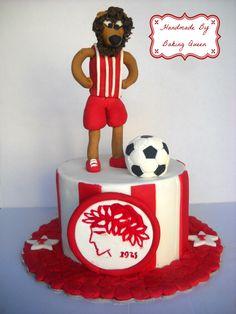 τούρτα Ολυμπιακός με φιγούρα θρυλέων! 3rd Birthday, Sugar, Cakes, Baking, Party, Desserts, Handmade, Food, 3 Year Olds