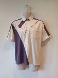 GAGA Mens Vintage Short Sleeve Cotton Tri-Color Panel Button-Down Shirt