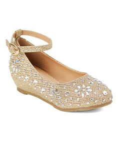 Look what I found on #zulily! $12.99 Gold Ankle-Strap Sophie Dress Shoe - Infant, Toddler & Girls #zulilyfinds