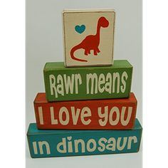Primitive Country Wood Stacking Sign Blocks Dinosaur Decor Childrens Room Rawr Means I Love You In Dinosaur