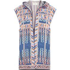 BCBGMAXAZRIA Runway Ian Vest (1,720 CAD) ❤ liked on Polyvore featuring outerwear, vests, blue, blue vest, zipper vest, hooded vest, striped vest and vest waistcoat