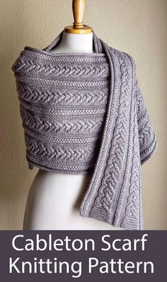 CABLETON SCARF is a cozy, snuggly wrap scarf, featuring cable/garter borders on top and bottom, two types of beautiful cables on reverse Stockinette stitch as the main part, and neat i-cord edges. Knitting Patterns Free, Knit Patterns, Knit Wrap Pattern, I Cord, Knitted Shawls, Crochet Yarn, Womens Scarves, Cable Knit, Lana