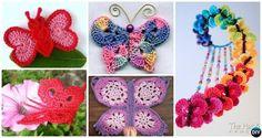 Crochet Butterfly Free Patterns:Attach butterfly applique onto fashion, make 3D butterflies as Mobile nursery or chandelier, or crochet butterfly rugs.