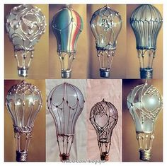 I love hot air balloons. Glass mini hot air balloons made from light bulbs, metallic type paint and jewelry wire. - want to make christmas ornaments? Recycled Light Bulbs, Light Bulb Crafts, Recycled Art, Repurposed, Light Bulb Art, Painted Light Bulbs, Diy Projects To Try, Craft Projects, Craft Ideas
